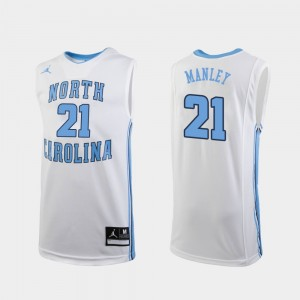 #21 Sterling Manley North Carolina Tar Heels For Men's College Basketball Replica Jersey - White