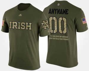 #00 Notre Dame Fighting Irish Short Sleeve With Message Military Mens Customized T-Shirt - Camo