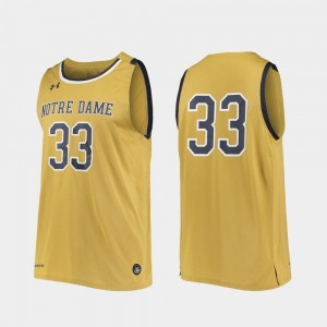 #33 Notre Dame Fighting Irish For Men's College Basketball Replica Jersey - Gold