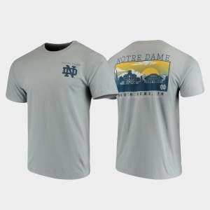 Notre Dame Fighting Irish Comfort Colors Campus Scenery For Men's T-Shirt - Gray