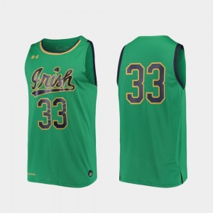 #33 Notre Dame Fighting Irish College Basketball Replica For Men Jersey - Kelly Green