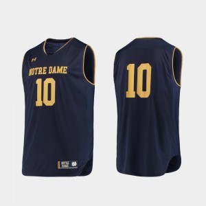 #10 Notre Dame Fighting Irish College Basketball For Men's Authentic Jersey - Navy Gold