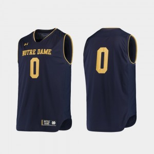 #0 Notre Dame Fighting Irish Replica College Basketball For Men's Jersey - Navy Gold