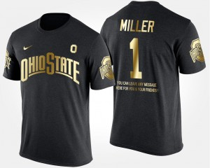 #1 Braxton Miller Ohio State Buckeyes Short Sleeve With Message Gold Limited Mens T-Shirt - Black
