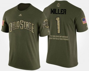 #1 Braxton Miller Ohio State Buckeyes Men's Military Short Sleeve With Message T-Shirt - Camo