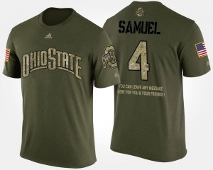 #4 Curtis Samuel Ohio State Buckeyes For Men's Military Short Sleeve With Message T-Shirt - Camo