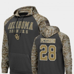 #28 Adrian Peterson Oklahoma Sooners United We Stand Colosseum Football Men's Hoodie - Charcoal