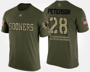 #28 Adrian Peterson Oklahoma Sooners Military Men's Short Sleeve With Message T-Shirt - Camo
