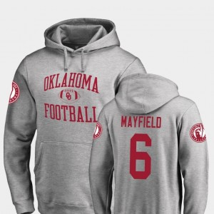 #6 Baker Mayfield Oklahoma Sooners College Football Neutral Zone For Men's Hoodie - Ash
