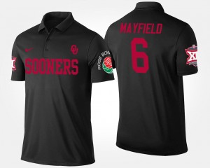 #6 Baker Mayfield Oklahoma Sooners Bowl Game Mens Big 12 Conference Rose Bowl Polo - Black