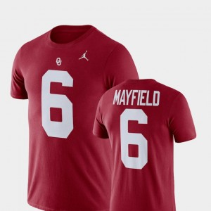 #6 Baker Mayfield Oklahoma Sooners For Men's College Football Name & Number T-Shirt - Crimson