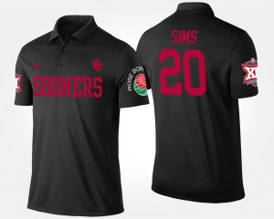 #20 Billy Sims Oklahoma Sooners Men Big 12 Conference Rose Bowl Bowl Game Polo - Black