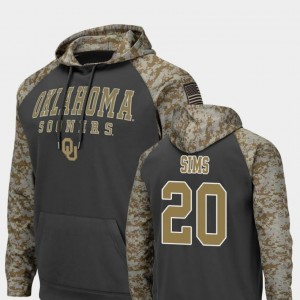 #20 Billy Sims Oklahoma Sooners Mens United We Stand Colosseum Football Hoodie - Charcoal