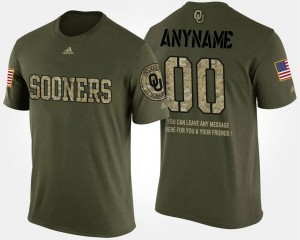 #00 Oklahoma Sooners For Men Short Sleeve With Message Military Customized T-Shirt - Camo
