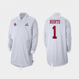 #1 Jalen Hurts Oklahoma Sooners Mens 2019 College Football Playoff Bound Full-Zip Sideline Jacket - White