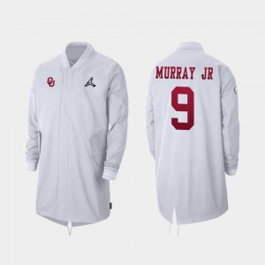 #9 Kenneth Murray Oklahoma Sooners 2019 College Football Playoff Bound For Men's Full-Zip Sideline Jacket - White