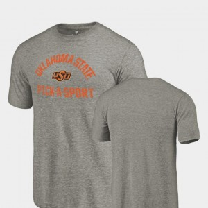 Oklahoma State Cowboys and Cowgirls Pick-A-Sport For Men's Tri-Blend Distressed T-Shirt - Gray