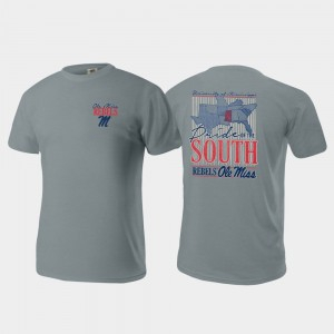 Ole Miss Rebels Pride of the South Comfort Colors For Men T-Shirt - Gray
