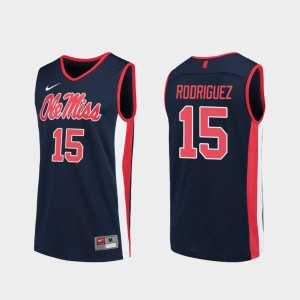 #15 Luis Rodriguez Ole Miss Rebels Replica College Basketball For Men Jersey - Navy