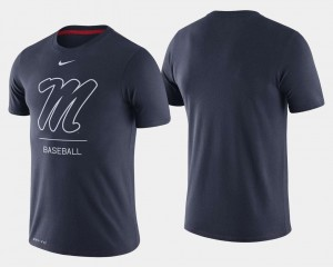 Ole Miss Rebels For Men's College Baseball Dugout Performance T-Shirt - Navy