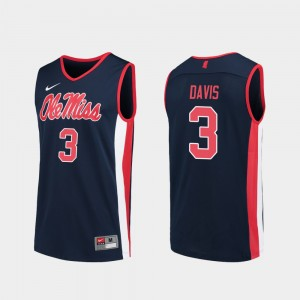 #3 Terence Davis Ole Miss Rebels Replica For Men's College Basketball Jersey - Navy