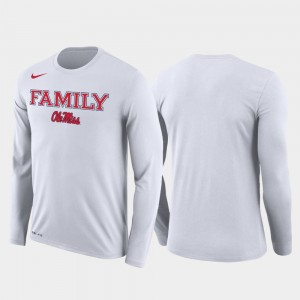 Ole Miss Rebels March Madness Basketball Performance Long Sleeve Family on Court For Men's T-Shirt - White