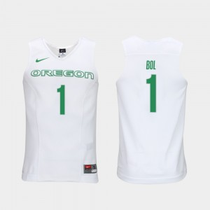 #1 Bol Bol Oregon Ducks Authentic Performace Elite Authentic Performance College Basketball Mens Jersey - White