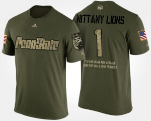 #1 Penn State Nittany Lions Military Mens No.1 Short Sleeve With Message T-Shirt - Camo