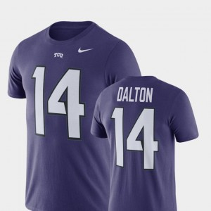 #14 Andy Dalton TCU Horned Frogs College Football Name & Number Mens T-Shirt - Purple