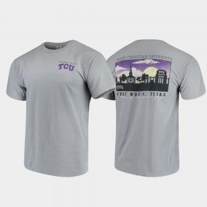 TCU Horned Frogs Campus Scenery For Men's Comfort Colors T-Shirt - Gray