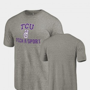TCU Horned Frogs Pick-A-Sport Tri-Blend Distressed For Men T-Shirt - Gray