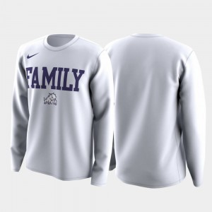 TCU Horned Frogs Mens March Madness Legend Basketball Long Sleeve Family on Court T-Shirt - White