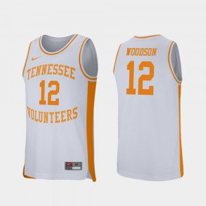 #12 Brad Woodson Tennessee Volunteers College Basketball Retro Performance For Men Jersey - White