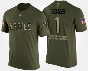 #1 Texas A&M Aggies For Men's Military No.1 Short Sleeve With Message T-Shirt - Camo
