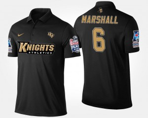 #6 Brandon Marshall UCF Knights For Men's American Athletic Conference Peach Bowl Bowl Game Polo - Navy