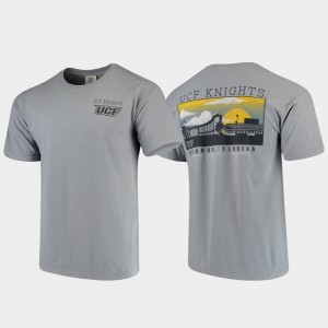 UCF Knights Campus Scenery Men's Comfort Colors T-Shirt - Gray