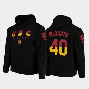 #40 Chase McGrath USC Trojans College Football Pullover Wedge Performance Mens Hoodie - Black