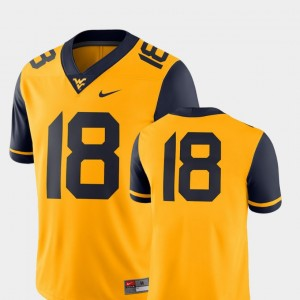 #18 West Virginia Mountaineers College Football Men's 2018 Game Jersey - Gold