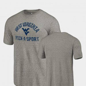 West Virginia Mountaineers Pick-A-Sport Tri-Blend Distressed Mens T-Shirt - Gray
