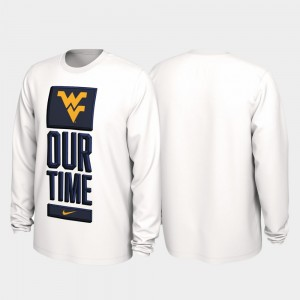 West Virginia Mountaineers Mens 2020 March Madness Our Time Bench Legend T-Shirt - White