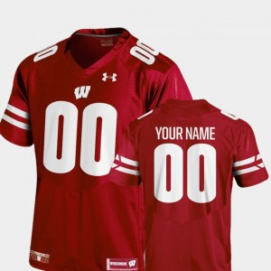 #00 Wisconsin Badgers Men's College Football 2018 TC Customized Jersey - Red