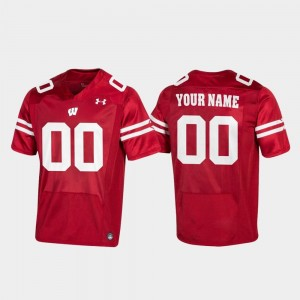 #00 Wisconsin Badgers For Men's Football Replica Customized Jersey - Red