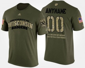 #00 Wisconsin Badgers Military Men's Short Sleeve With Message Customized T-Shirt - Camo