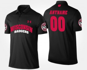 #00 Wisconsin Badgers Mens Customized Polo - Black