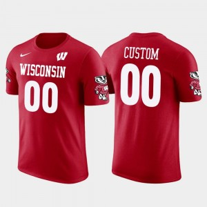 #00 Wisconsin Badgers Cotton Football Future Stars Mens Customized T-Shirts - Red