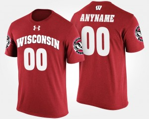 #00 Wisconsin Badgers For Men's Customized T-Shirts - Red