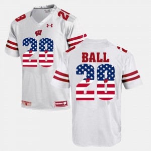 #28 Montee Ball Wisconsin Badgers For Men US Flag Fashion Jersey - White