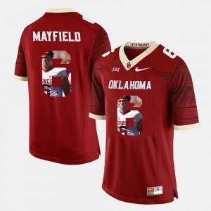 #6 Baker Mayfield Oklahoma Sooners Mens Player Pictorial Jersey - Crimson