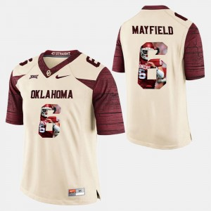 #6 Baker Mayfield Oklahoma Sooners Player Pictorial Mens Jersey - White