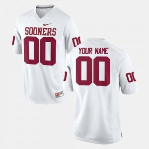 #00 Oklahoma Sooners College Football For Men Customized Jerseys - White